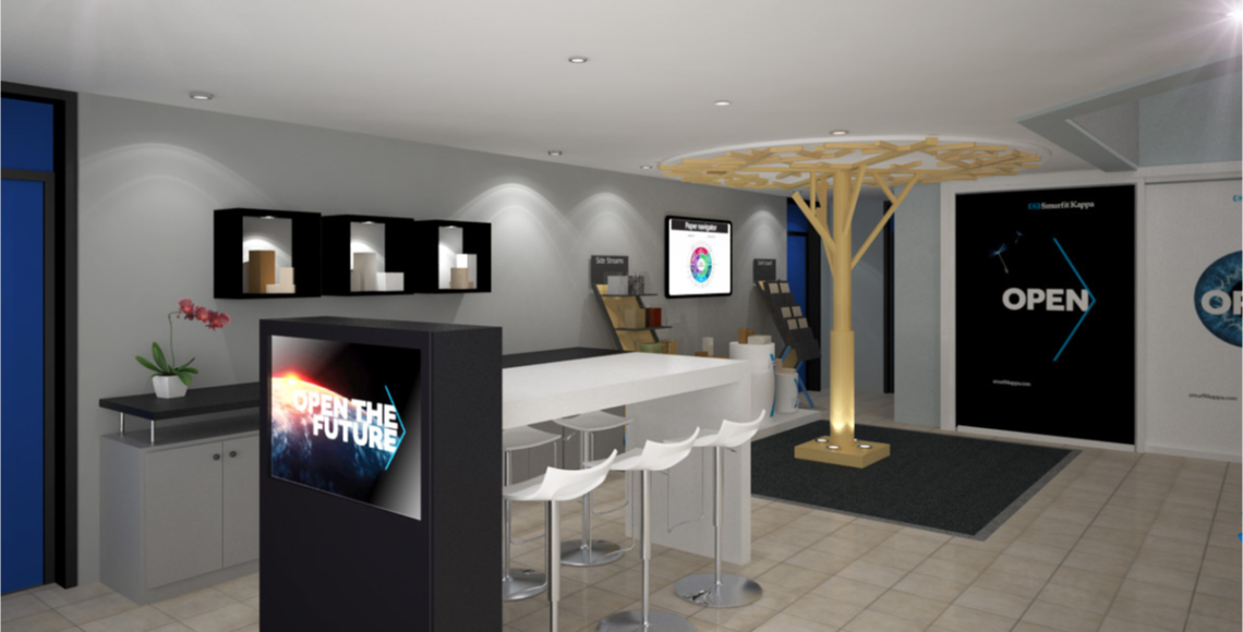 Aménagement showroom Smurfit kappa Facture standiste display borne interactive